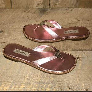 Brighton Orla 2 Thongs Pink Leather Sandals 7.5